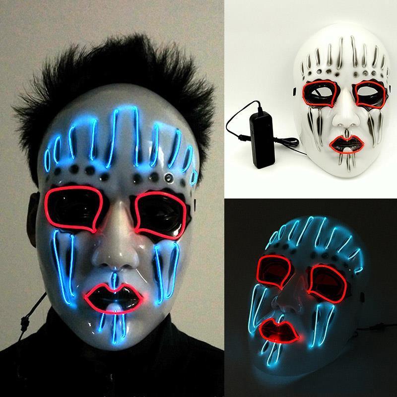 Máscaras de regalo LED El Party Disfraces Cumpleaños Masquerade Partido Carnaval Cosplay Halloween Face Masks Halloween Máscara Brillante Full WX9-5 IKIW