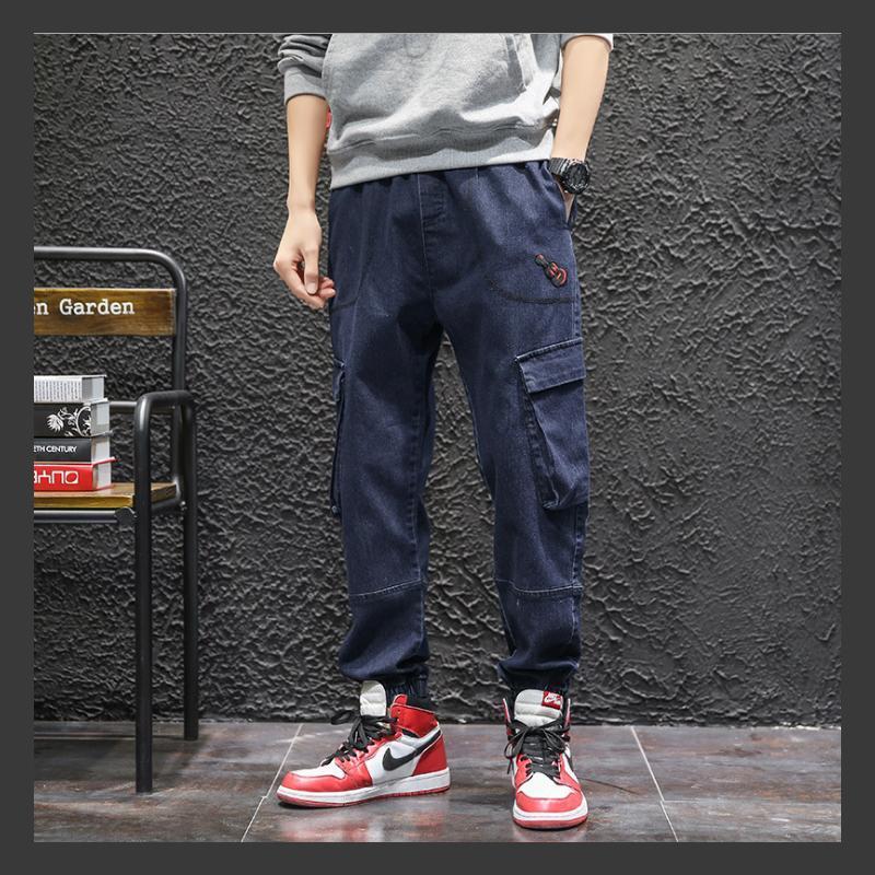 70.7% algodón 6.5% de fibra de celulosa primavera verano otoño pantalones casuales M-8xl Jeans para hombre estilo de carga Taper de gran tamaño RY1901