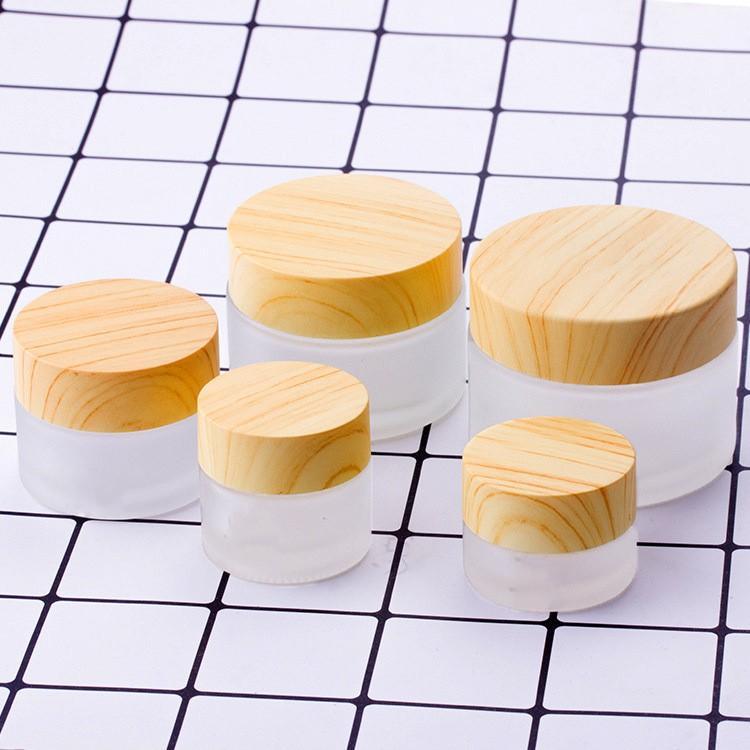 5G-100G mini vidro jarra vazia potes maquiagem cosmética tampa interna creme creme lip bálsamo recipiente de madeira grãos de madeira frascos recarregáveis