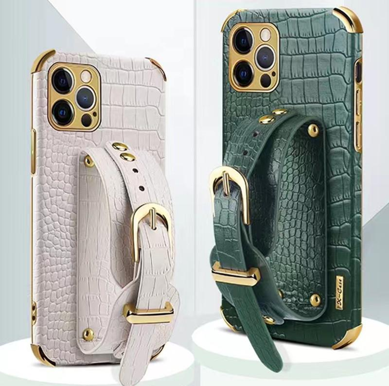 Luxury Business Leather Crocodile Texture Cover Phone Case holder Wallet case Wristband bracket For iPhone 13 12 11 mini Pro Max Xs Xr Xs Max Retail