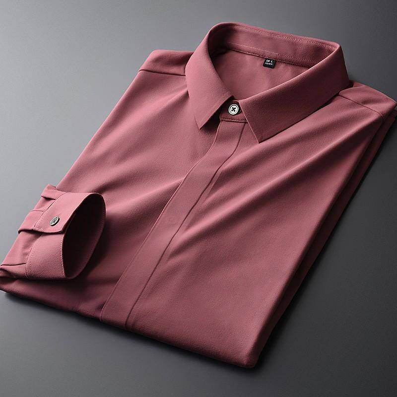 New Red Men Camiseta Alta Qualidade Manga Longa Cor Sólida Casual Camisas Masculinas Moda Fit Fit Fit Partido Mens Vestido 4xl
