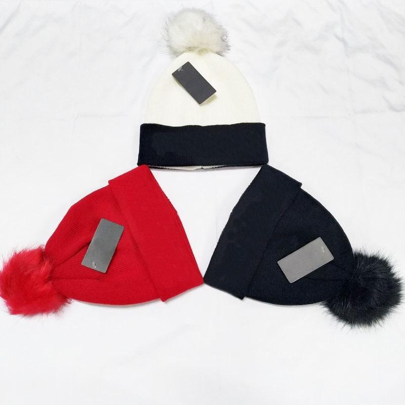 Frauen und Männer Winter Beanie Buchstaben Wolle Schädelkappen 3 Farben mit Tag Unsex Designer Strickkugel Hüte Großhandel