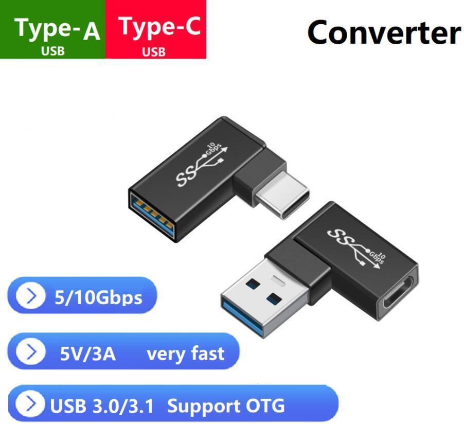 USB A TO TYPE-C 팔꿈치 변환기 TYPE A 타입 C 어댑터 USB A USB C 커넥터 90도