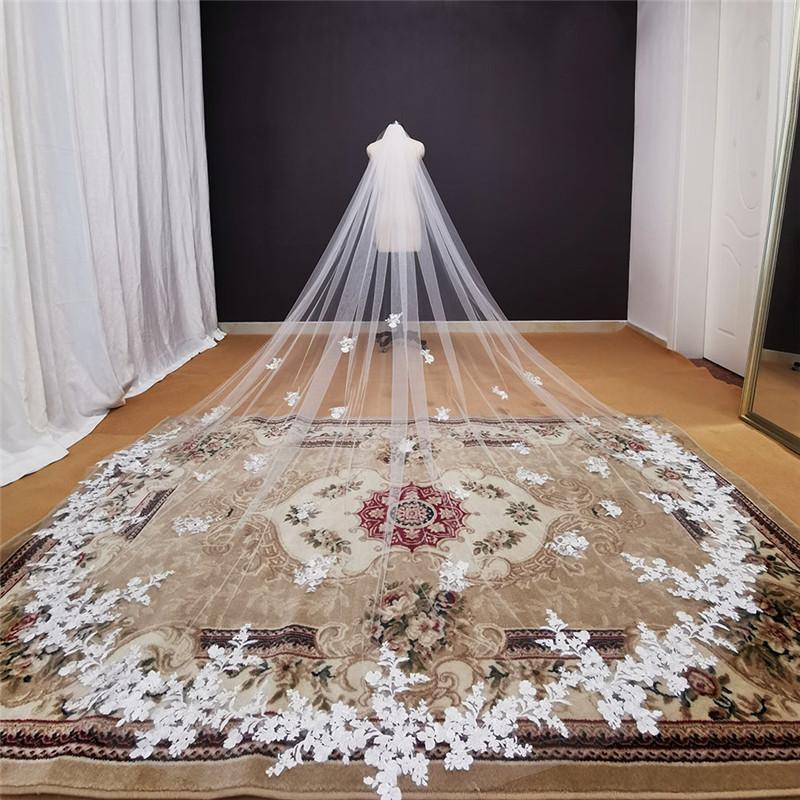 Gerçek Fotoğraflar Uzun Dantel Aplikler Düğün Peçe Beyaz Fildişi Katedrali Gelin Peçe 3 Metre Gelin Peçe Düğün Aksesuarları 2021