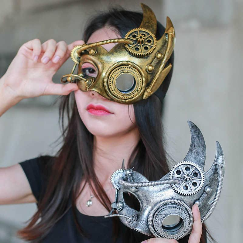 Steampunk Phantom Masquerade Cosplay Mask Mask Ball Mezza faccia uomo Punk Halloween Party Costume Puntelli Metallo pesante