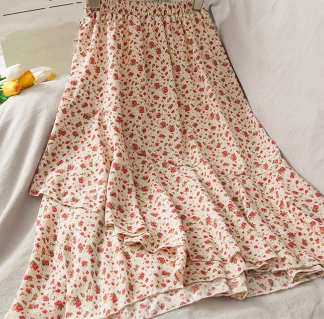 Summer women's flounces fishtail skirts,printed miniskirt, lace yarn, casual skirt, street wear