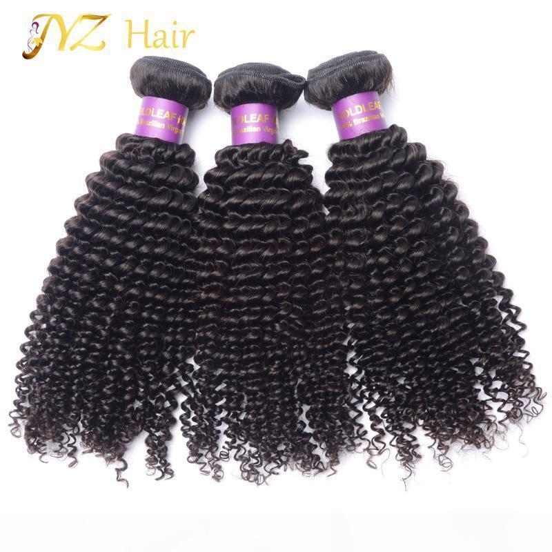 Jyz Virgin Feave Weave Kinky Кудрявый бразильский необработанный 100% человеческих волос Weave 3 шт. Лот 8-30 дюймов Пакеты волос