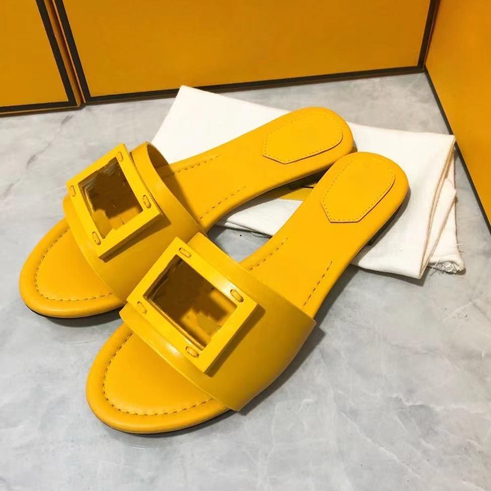 Chic Cowskin Deri Sarı Düz Topuk Slayt Sandal Lüks Kadınlar Moda Ayakkabı Butik Boyutu 35 - 41 42 TicaretBear