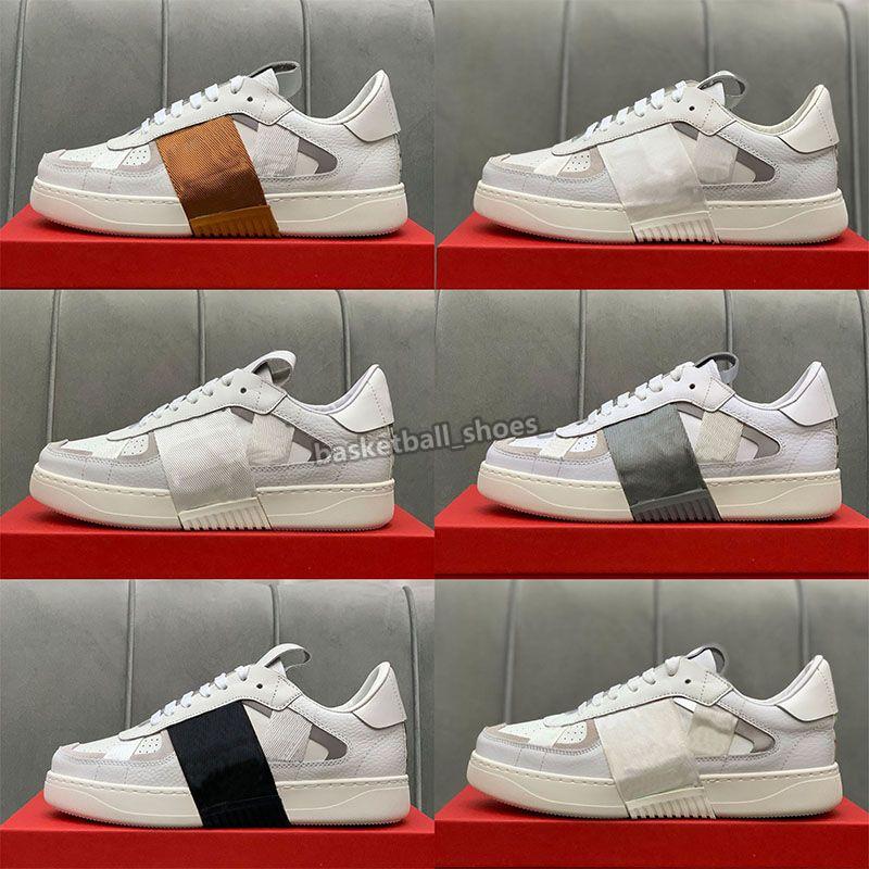 Luxurys Designers Vl7n Sneaker Mens Sapatos Reflexivo Genuíno Tênis De Couro Lona e Calfskin Trainers Unisex Baixo Top Chaussures Casual Shoe Shoe Tamanho 35-45