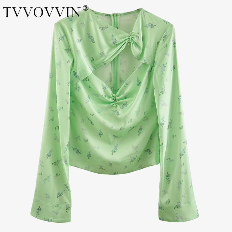 Знаменитая новая сексуальная грудь полый скрученный плиссированный цветочный принт зеленый разжиганный рукав верхний пуловер женская повседневная B723 210306