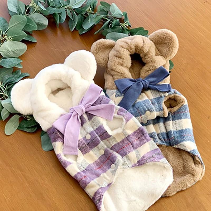 Hundebekleidung Winter Haustierkleidung Dicker Plüsch Warme Niedliche Bär Hut Hoodie für Plaid Bowknot Kleine Mittlere Hunde Chihuahua Mops