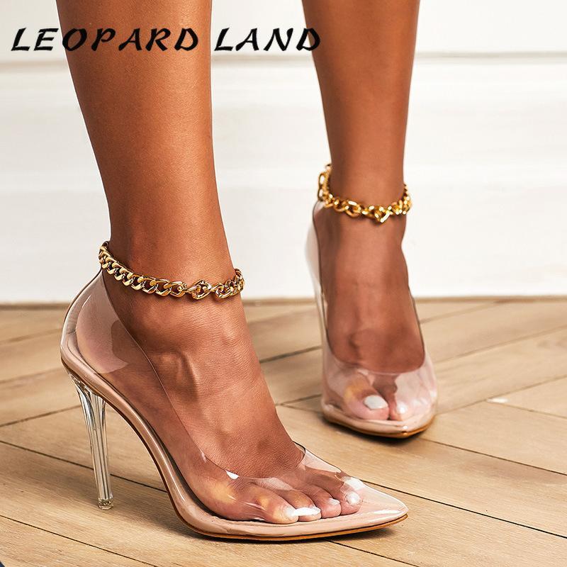 Leopard Land 2021 Женщины Сандалии Прозрачная Запрашиваемая цепочка Большой Размер Женские Сандалии Большой Большой каблук Модель CATWALK 42SHOE ZL