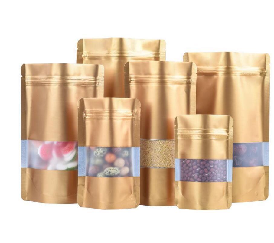 9 Размер Золотой Степень Алюминиевая Сумка из алюминиевой фольги С чистым окном Пластиковый чехол Молния Упаковка для хранения пищевых продуктов.