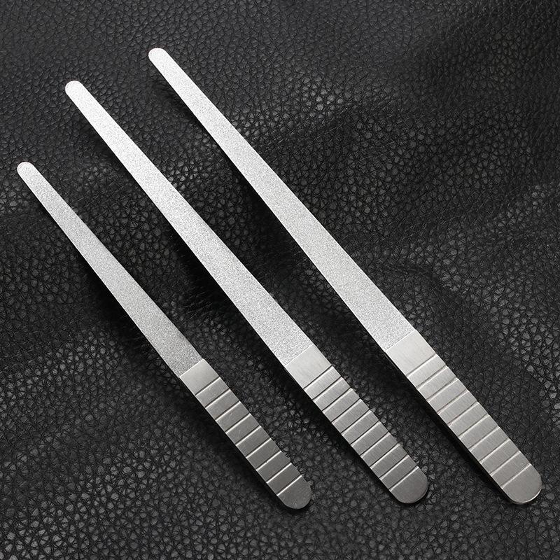 1 ADET Profesyonel Paslanmaz Çelik Tırnak Dosya Tampon Metal Çift Taraf Taşlama Çubuk Manikür Pedikür Scrub Nail Arts Araçları Kalın