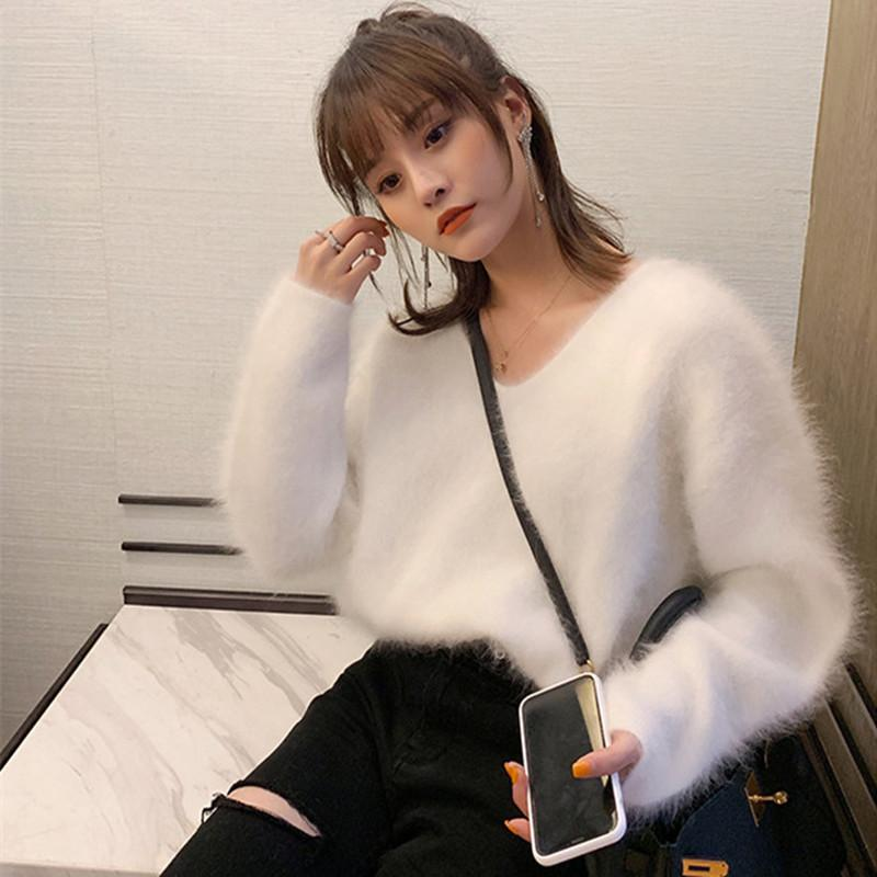 Mulheres Senhoras Suéteres e Pullovers Pure 100% Mink Cashmere Thmere Pullover Angora Fluffy JNS002 201031