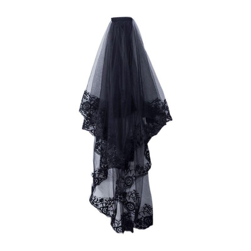 Bridal Veils 2-Tier Women Halloween Cosplay Costume Black Mantilla Wedding Veil Embroidery Floral Lace Sheer Tulle Hair Accessories With Com
