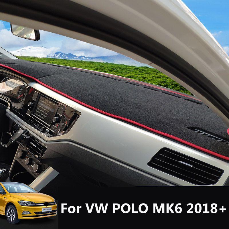 ل فول فاجن بولو MK6 2018 2019 2020 مكافحة زلة حصيرة لوحة القيادة غطاء لوحة ظلة dashmat حماية السجاد داش اكسسوارات السيارات