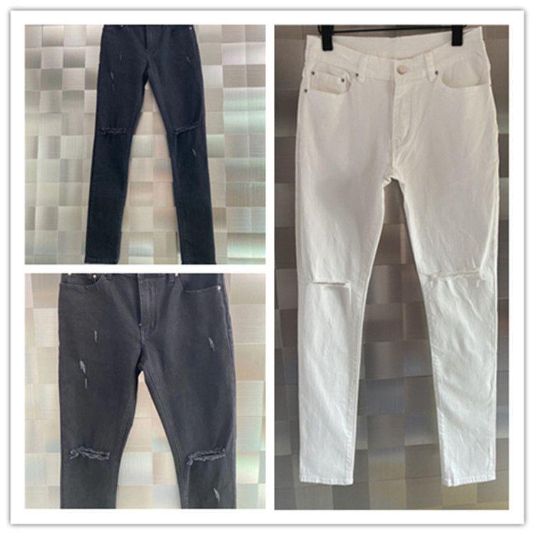 Белое разорвое отверстие мужские джинсы роскоши дизайнерский дизайнер тонкий ж джинс Solid Classic прямой фигур по прибытии Biker серебряная полоса расстроенная вода алмаз топ брюки размер W29-W40