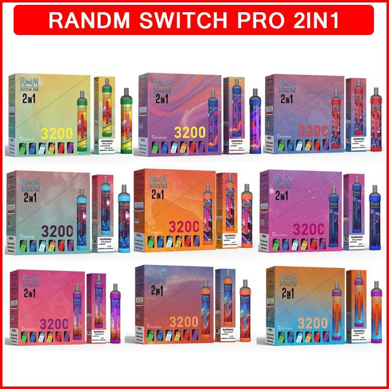 Authentic Randm Switch Pro RGB Light Sigarettes 2 in 1 Dispositivo di vape monouso 3200 sbuffi 650mAh Batteria 10ml cartucce di pods da 10 ml cartucce vapes penna 12 colori