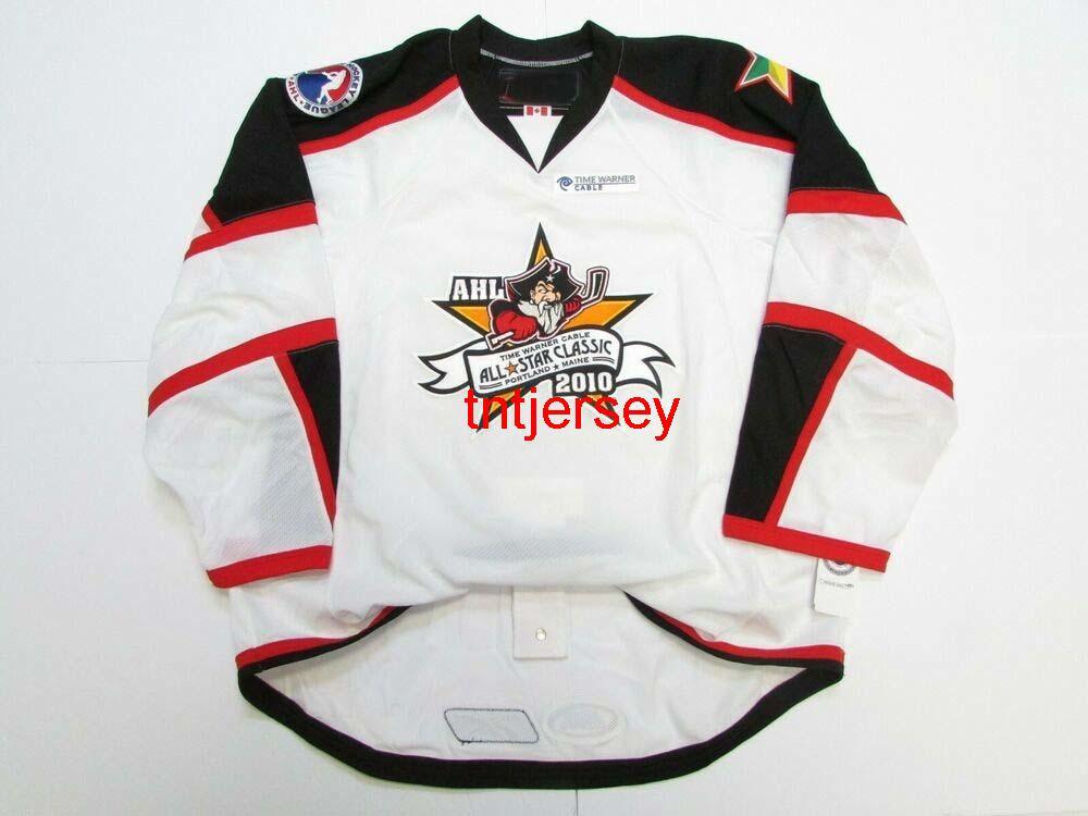 Dikişli Özel 2010 Ahl Tüm Yıldız Oyunu Portland Beyaz Hokey Jersey Herhangi Bir Ad Ekle Numarası Erkek Çocuklar Jersey XS-5XL
