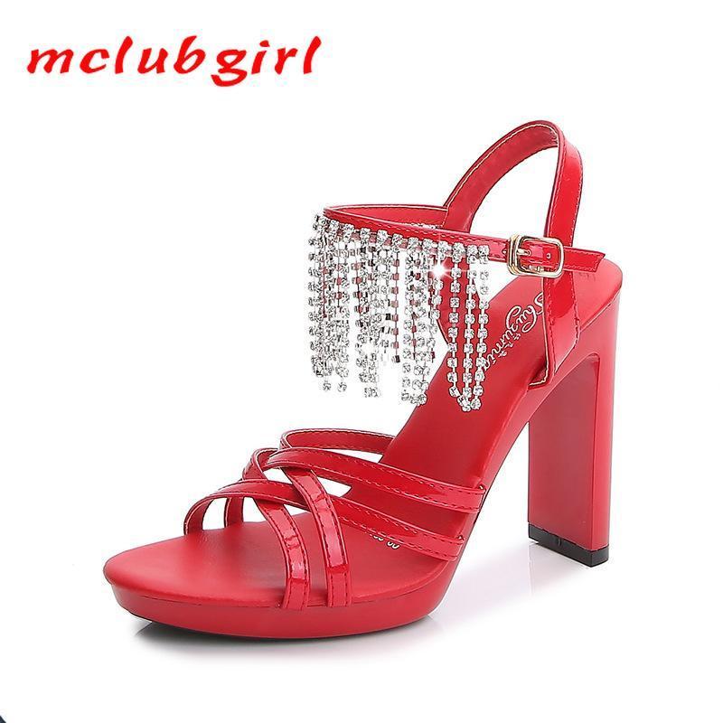 MCLUBGIRL 2021 Catwalk Mannequin Shoes Flat Heel Sexy Black Platform 11cm High Heel Sandals for Women Summer LFD-9053-15