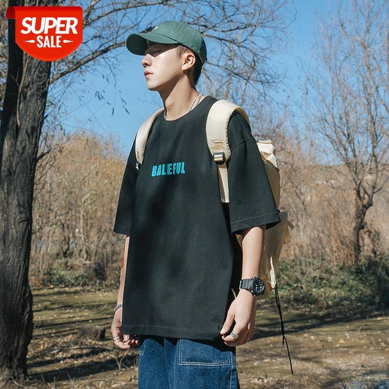 Летняя футболка с короткими рукавами мужской свободные круглые шеи прилив бренда полуми рукава рубашка Гонконг Стиль ins trend студент печатает пару com # ab7o