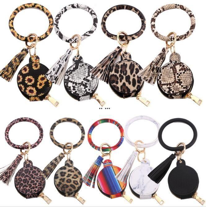 Key Chain Bracelet PU Leather Tassels Bracelets Keychain Wristlet Bluetooth Headset Storage Box Makeup Bag Mirror Earphone Bag HWB5077
