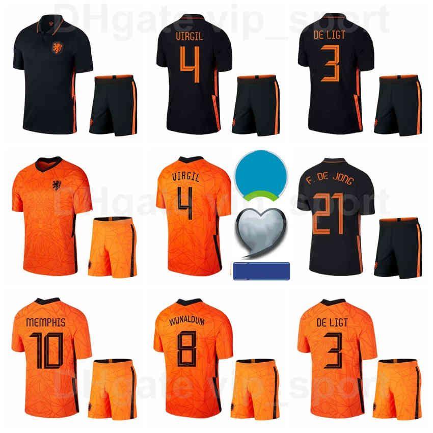 Países Baixos 2021-2022 Futebol 9 Robin Van Persie Jerseys Set National Team 10 Wesley Sneijder 11 Arjen Robben 6 Kits de Futebol Stefan de Vrij