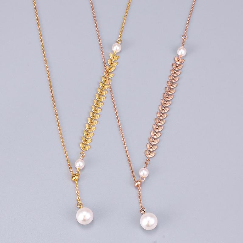 Pendentif Colliers Rose Or Couleur Blé Blé Perle Collier Réglable Titane Titanium Femme Bijoux Cadeau Jamais Fade Drop