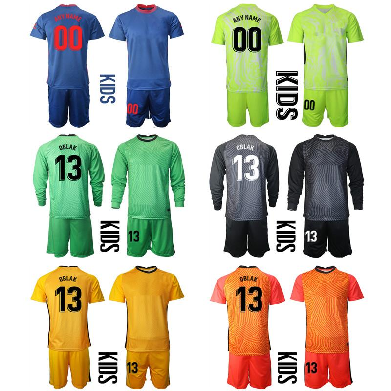2021 Season Custom Kids Kit Goalkeeper 13 OBLAK Football Jerseys 9 SUAREZ 8 SAUL 14M.LLORENTE 6 KOKE Boys Uniform Sets