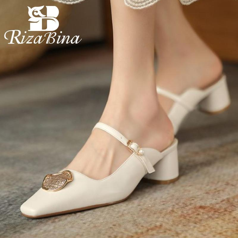Rizabina nuevas sandalias sandalias de vaca cuero extraño talón zapatos de verano mujeres moda fiesta oficina zapatos zapatos calzado tamaño 34-39