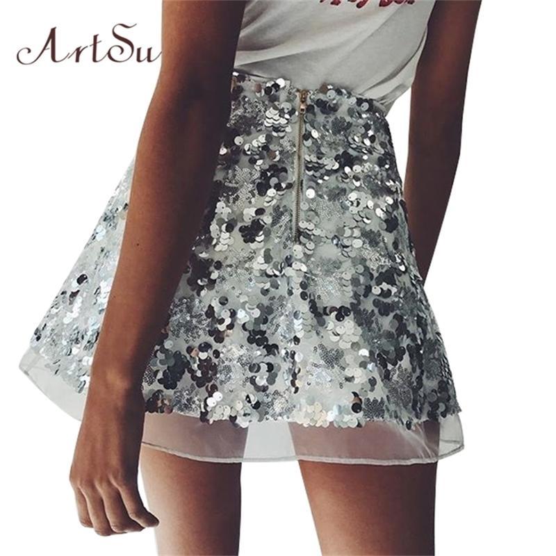 Artsu Gold Sequin сетки мини-юбки женские рождественские шикарные высокая талия юбка на молнии повседневная короткая партия пляж черный юбка ASSK20005 210202