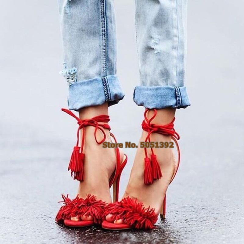 Women Thin High Heel Suede Peep Toe Sandals Fringe Ankle Wrap Lace-up Fashion Gladiator Stiletto Heel Sexy Tassel Shoes