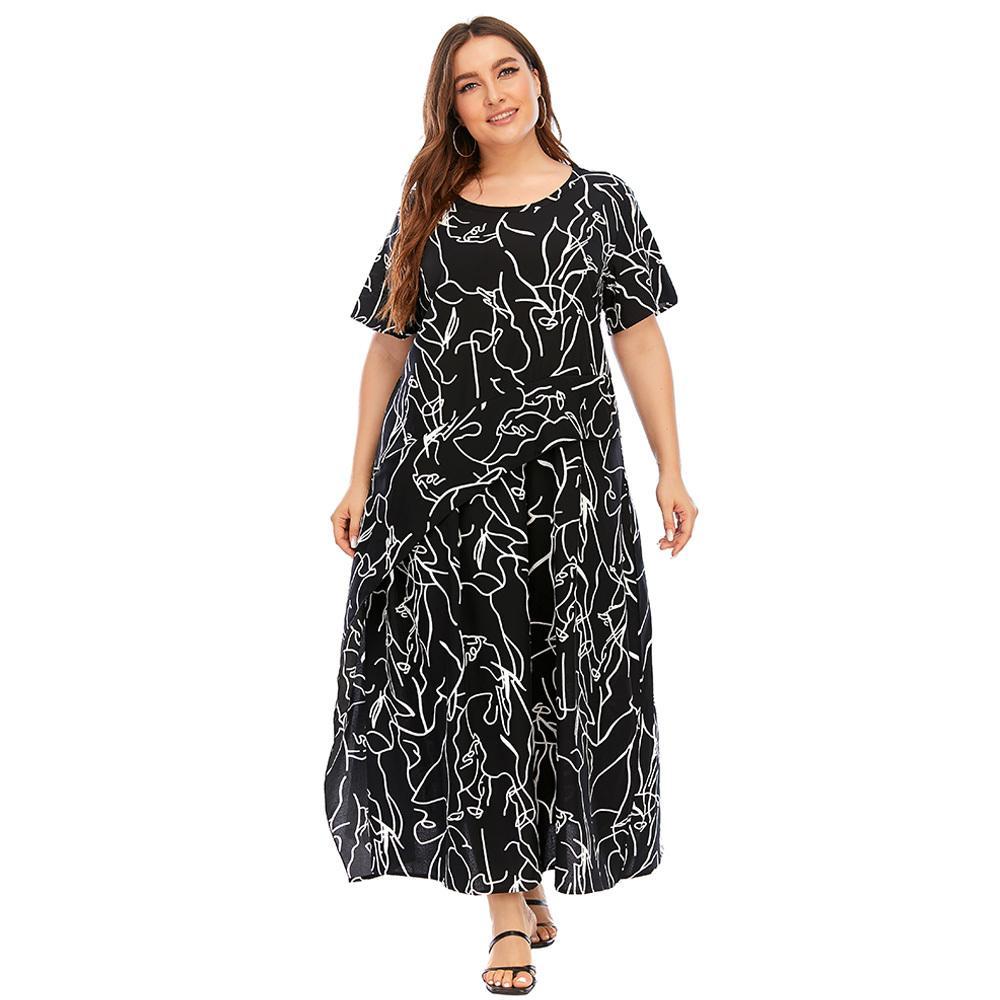 4XL 5XL плюс размер платье женщин лето с коротким рукавом геометрические принты оборками повседневные платья черные свободные негабаритные макси длинные платья Maxi 210305