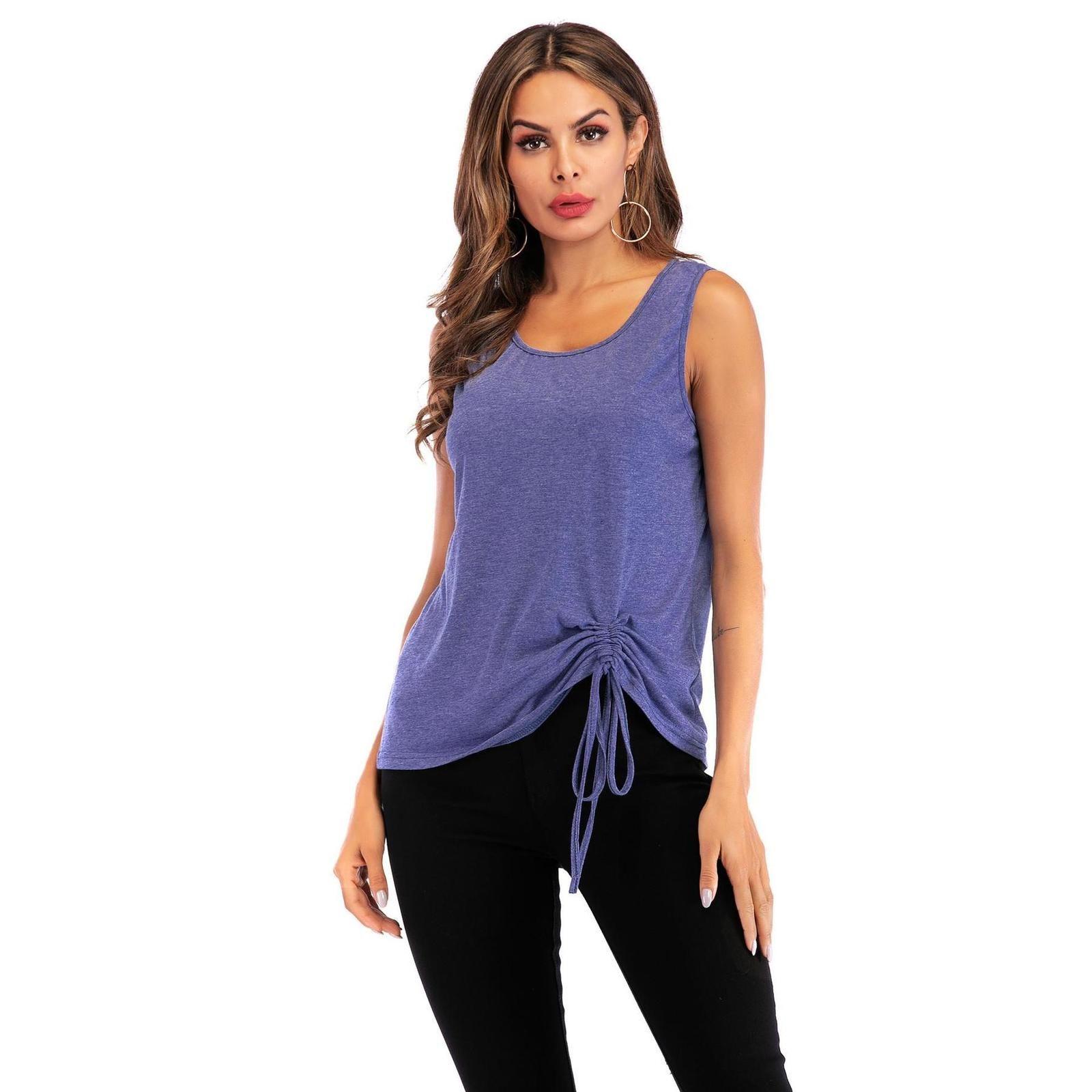Летние женские повседневные топы блузка без рукавов V шеи лук узлы женские футболки жилет чистый цвет повседневный танк