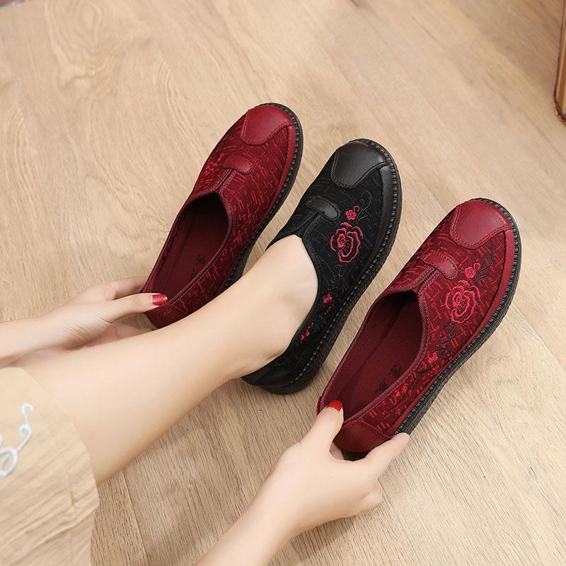Özerklik Marka Kadın Işlemeli Ayakkabı Kırmızı Boyutu 02 En Kaliteli Spor Ayakkabı Düşük Kesilmiş Nefes Pedal Rahat Ayakkabılar