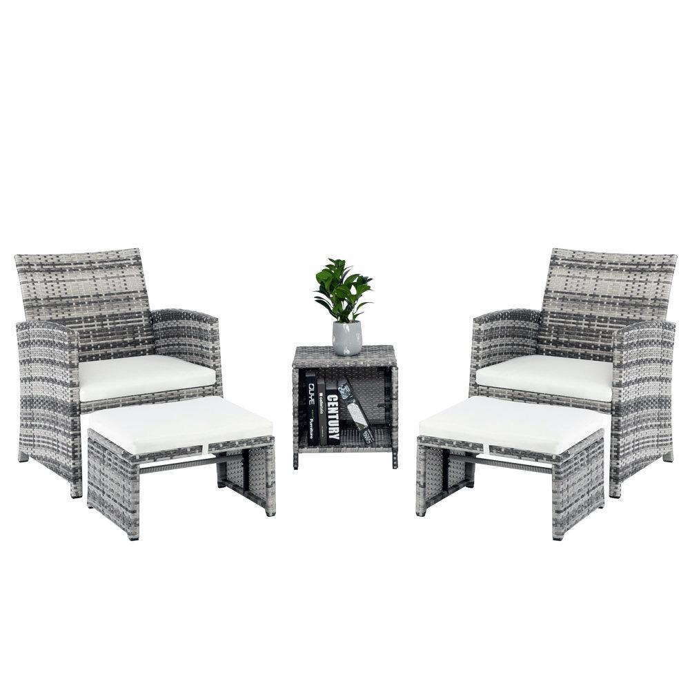 WACO 5-е штучные патио-лаунж-салон набор, плетеные ротанга полые вязаные открытый садовый бассейны мебели, с стульями под ногами бокового стола, серый