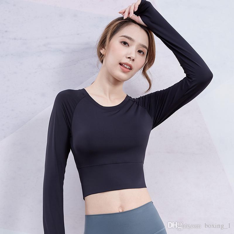 2021 Yoga-Top mit Brustpad Weiblicher Student Sexy navel-lagersport langärmelige Stretch Strumpfhosen laufende Fitness-Kleidung # 8541
