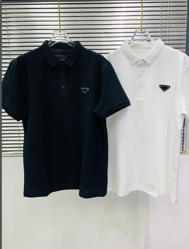 Doppio Piqué Cotton Polo Camicia Casual Estate Traspirante Colore Solido Top Quality Tees 21SS Primavera Primavera Mens T-Shirt Designer Lettere stampate