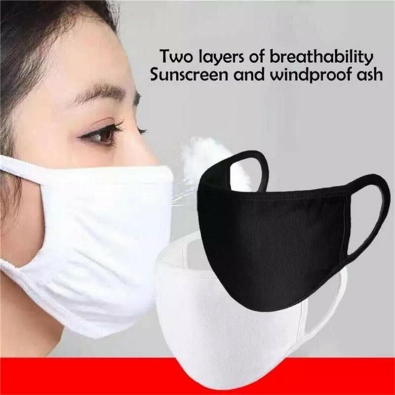 100pcs anti-poussière coton bouche masque masque unisexe homme femme cyclisme portant masques de mode noir