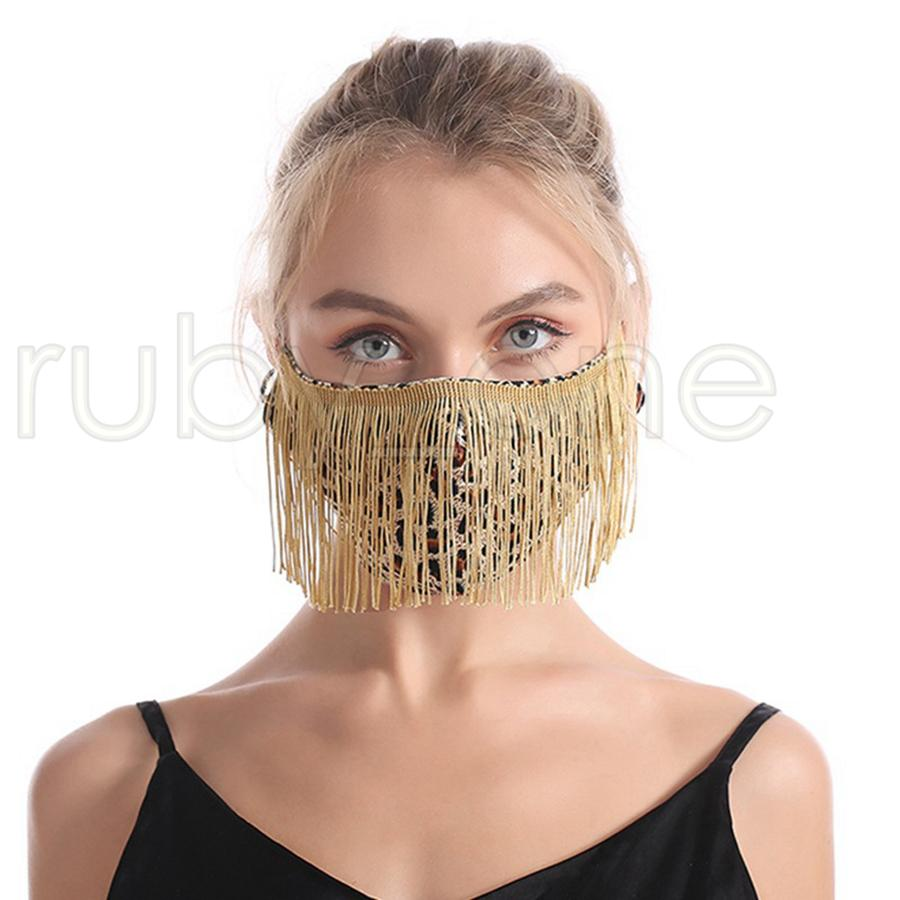 Cara Mascarillas de la moda de la borla Leopardo Moda Tendencia NUNTSCLUB Bar Masks Lavable Reutilizable 4 Estilo Máscara de fiesta RRA3641