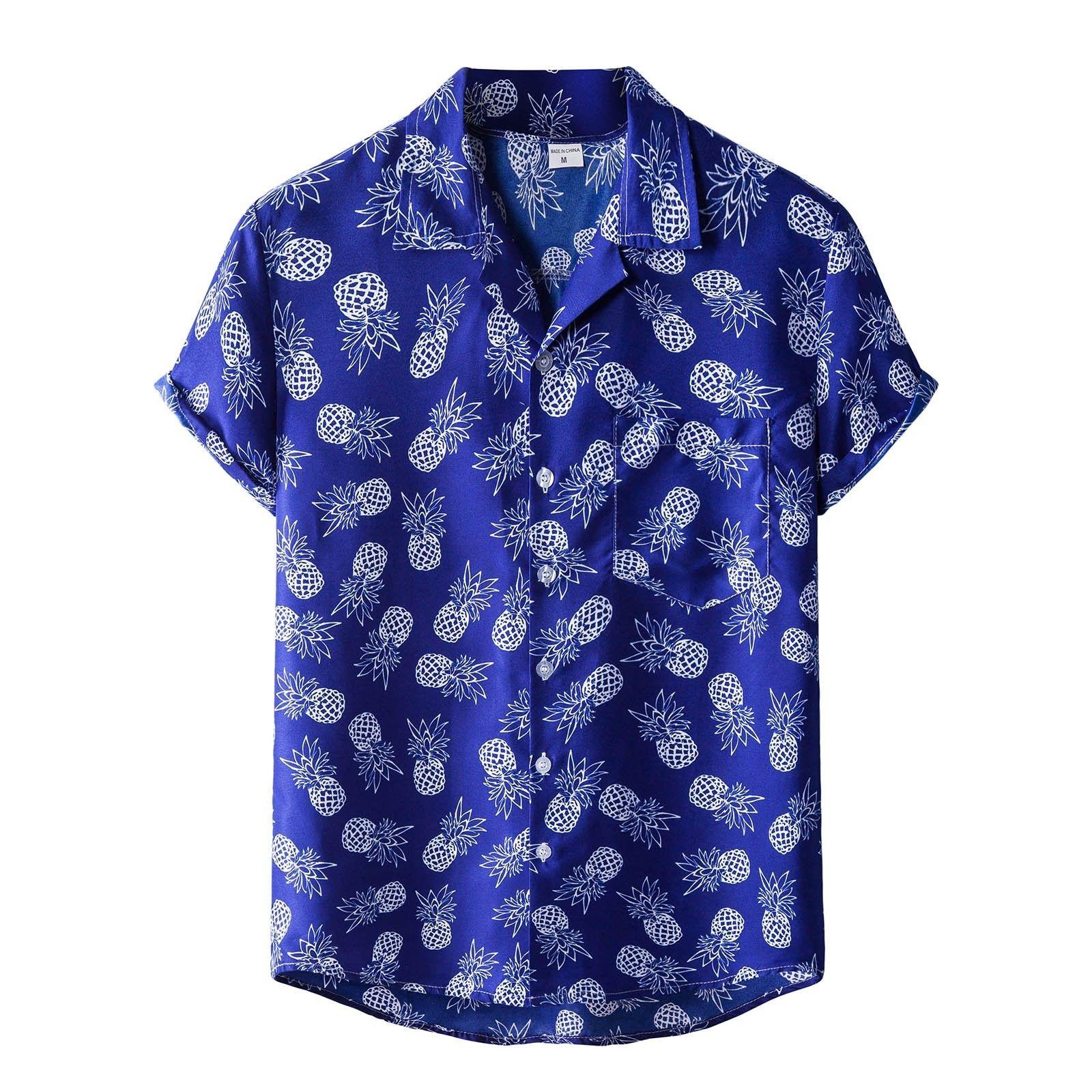 2021 Summer Hawaiian Shirt Hommes Floral Print Manches Tops Chemises à manches courtes respirantes Down Collier Mens Blouses # G30