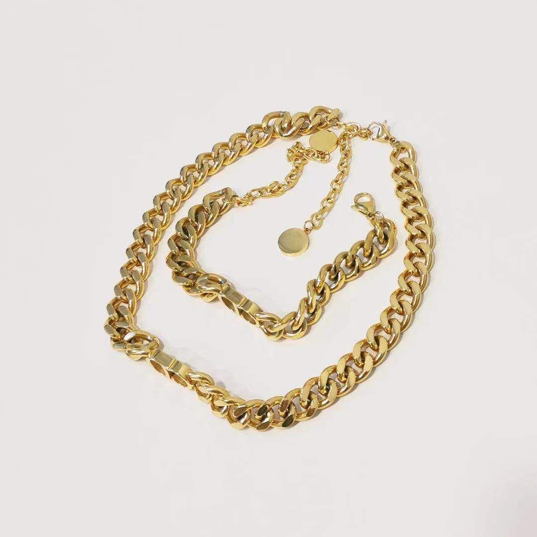 Luxus Designer Schmuck Frauen Gold Dicke Ketten Designer Halskette Für Mädchen Brief D Hip Hop Halskette Mode Fine Schmuck Männer Armband