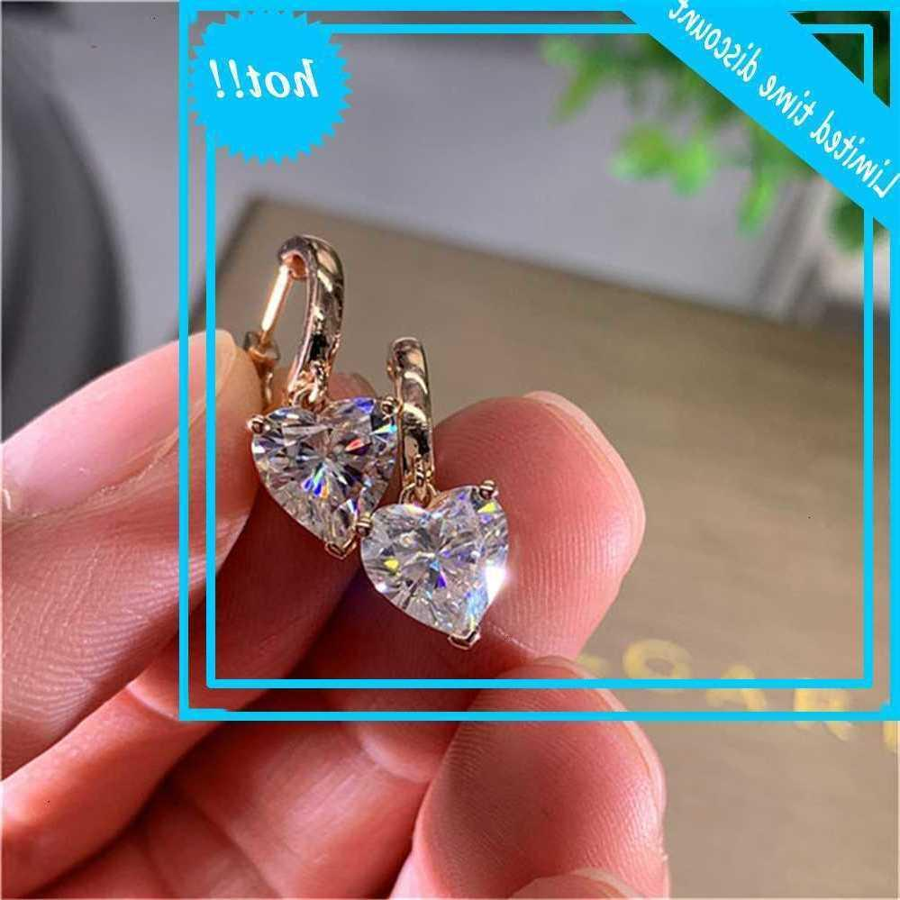 Lovely Female Heart Crystal Hill Rose Gold Silver Color Wedding Earrings Classic Bride White Zircon Jewelry for Women