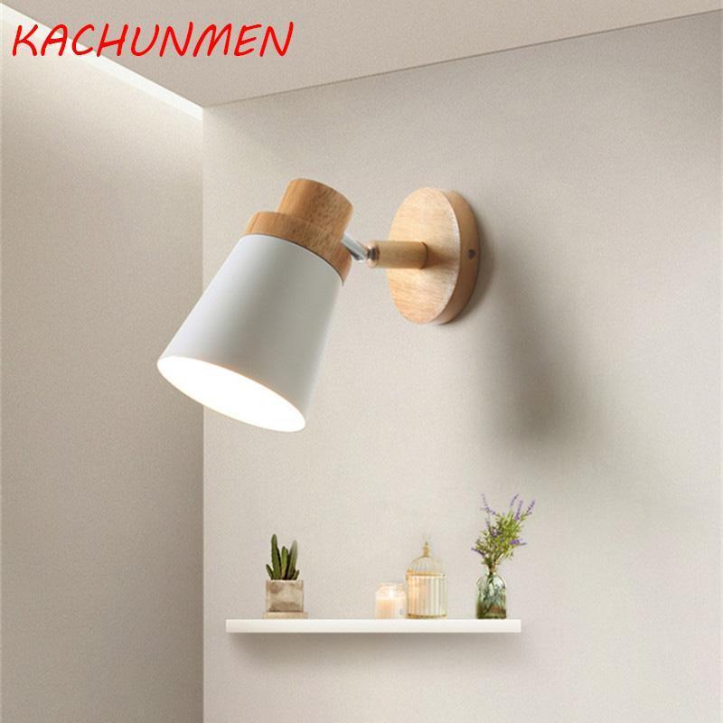 Nordic wood wood wood wall play light moderno minimalista macaron LED lampada da parete lampada da parete del soggiorno creativo illuminazione indoor AC85-265V