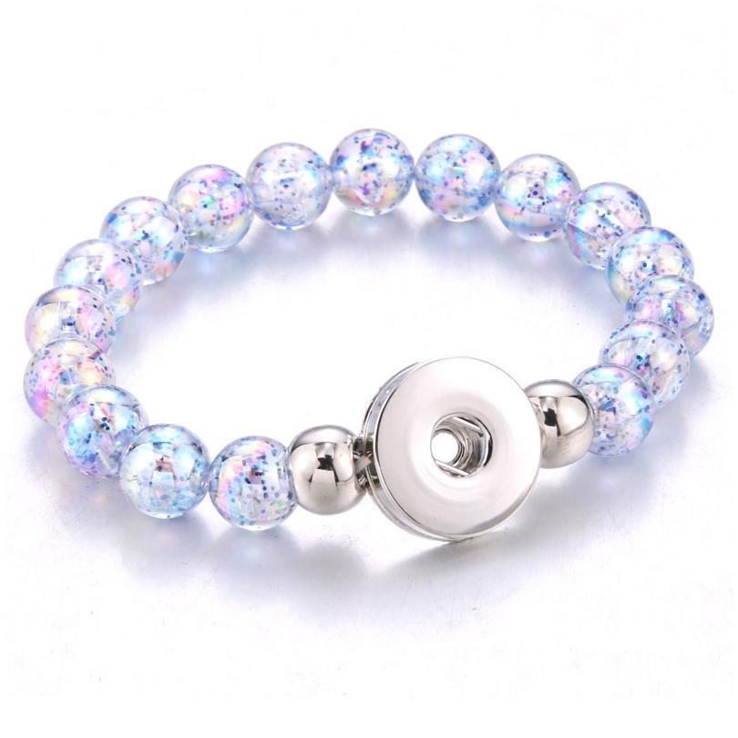 2019 New 18mm Snap Button Bracelet Handmade Imitation Pearl Beads Snap Bracelet Adjustable Elastic Diy Charm B jllgfk