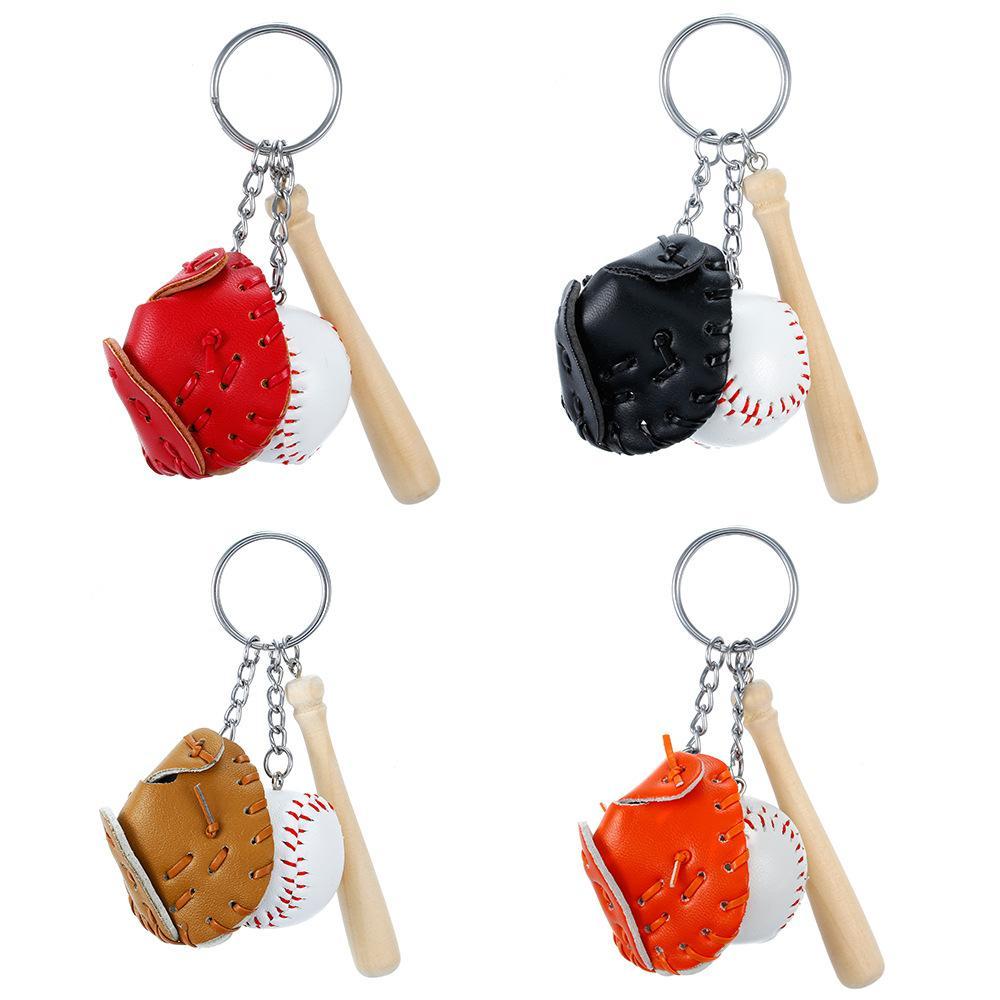 مصغرة ثلاثة أجزاء البيسبول قفاز الخفافيش الخفافيش المفاتيح سيارة مفتاح سلسلة مفتاح حلقة هدية للرجل النساء بالجملة