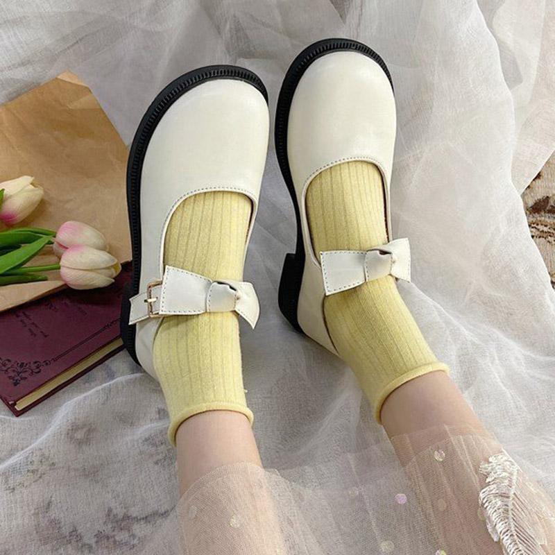 Lolita Ayakkabı Papyon Mary Janes Ayakkabı Kızlar için Yuvarlak Ayak Düşük Topuklu Deri Rahat Ayakkabılar Retro Toka Kayış Kadınlar Flats 8992N