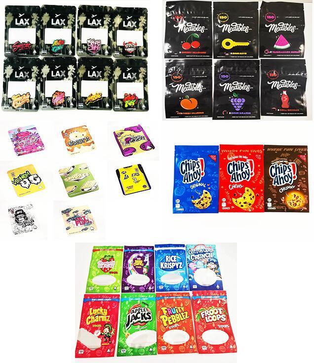 تغليف الصالحة للأكل أكياس مايلر بيضاء مقيد الأثير rurtz gummies البلاستيك سستة أعلى حقيبة تصميم 4 أنواع