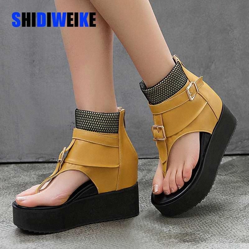 Moda mulheres plataforma sandálias verão cunhas sapatos mulher alta top couro gladiador sandálias flip flops sandalias mujer r7ar #